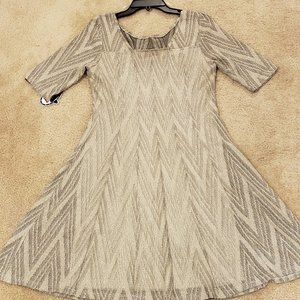 Metallic Silver and Black Soft Pleated Dress
